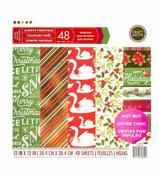 COLECCIÓN DE PAPELES 30X30 ALWAYS CHRISTMAS. CRAFT SMITH