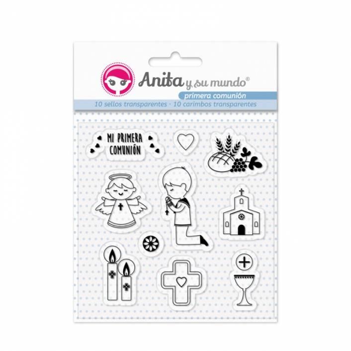 SET DE SELLOS COMUNIÓN NIÑO 2018. ANITA Y SU MUNDO
