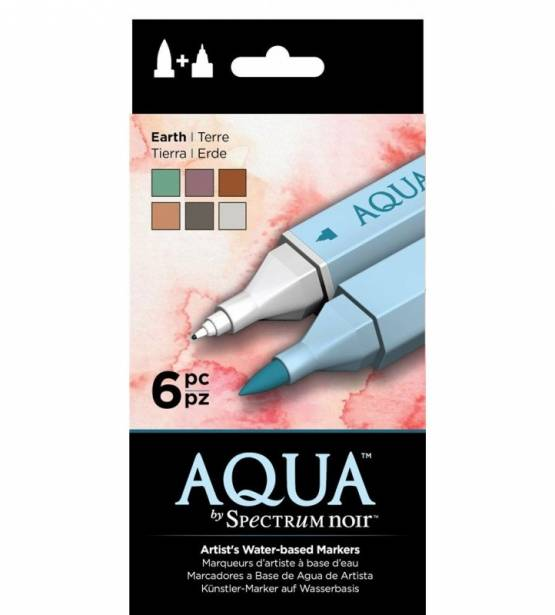 SET DE 6 ROTULADORES ACUARELABLES AQUA EARTH. SPECTRUM NOIR