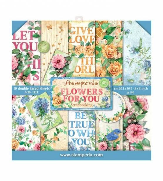 COLECCIÓN DE PAPELES 20X20 FLOWERS FOR YOU AQUARELLE