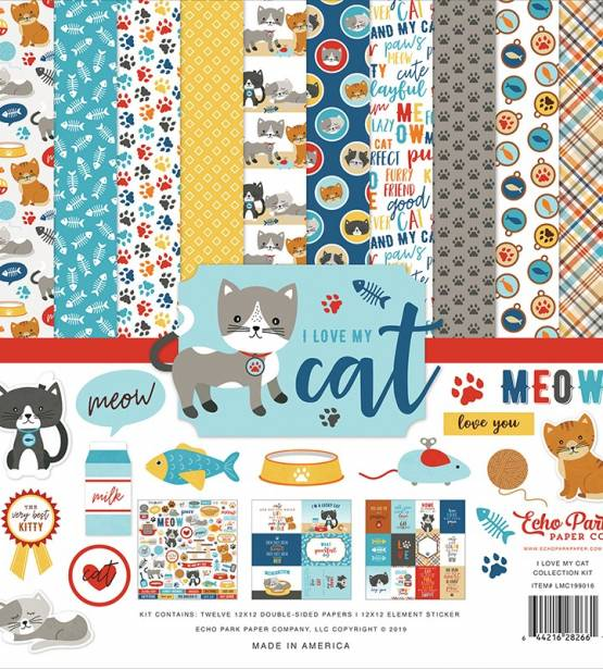 KIT DE SCRAPBOOKING 30X30 I LOVE MY CAT. ECHO PARK
