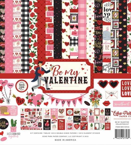 KIT DE SCRAPBOOKING 30X30 BE MY VALENTINE. ECHO PARK