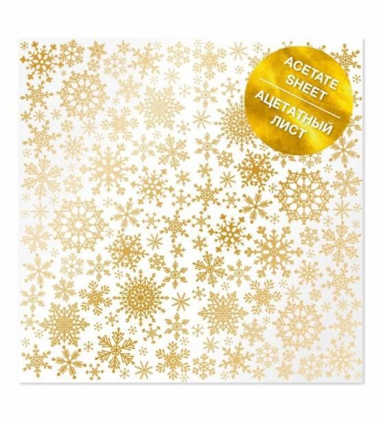ACETATO 30X30 GOLDEN SNOWFLAKES. FABRICA DECORU