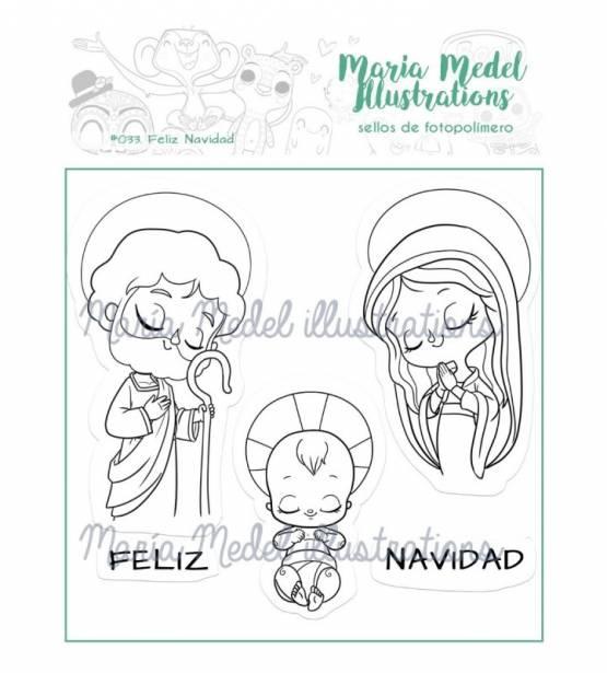 SET DE SELLOS FELIZ NAVIDAD. MARIA MEDEL